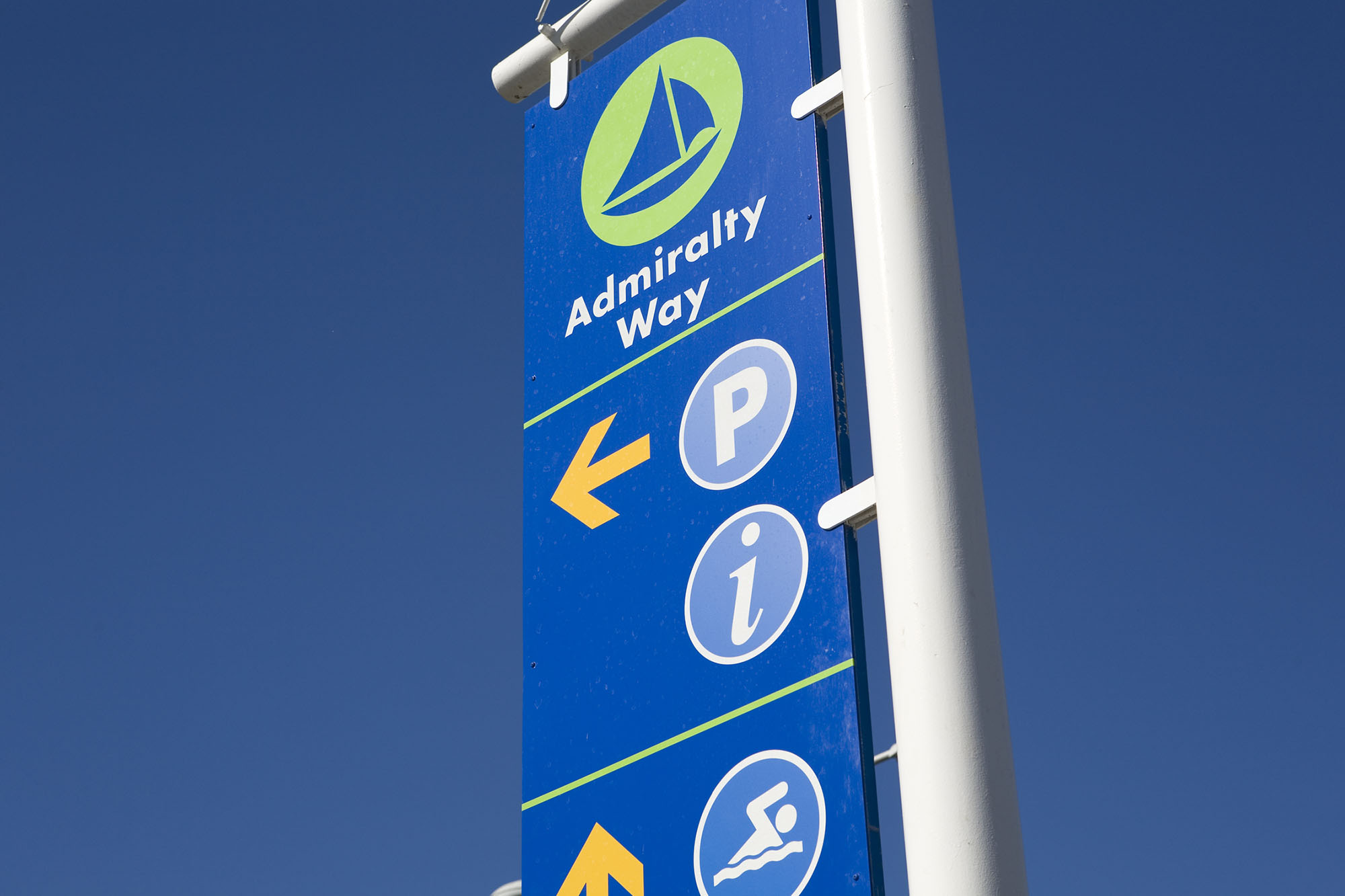 Existing wayfinding sign in Marina del Rey.