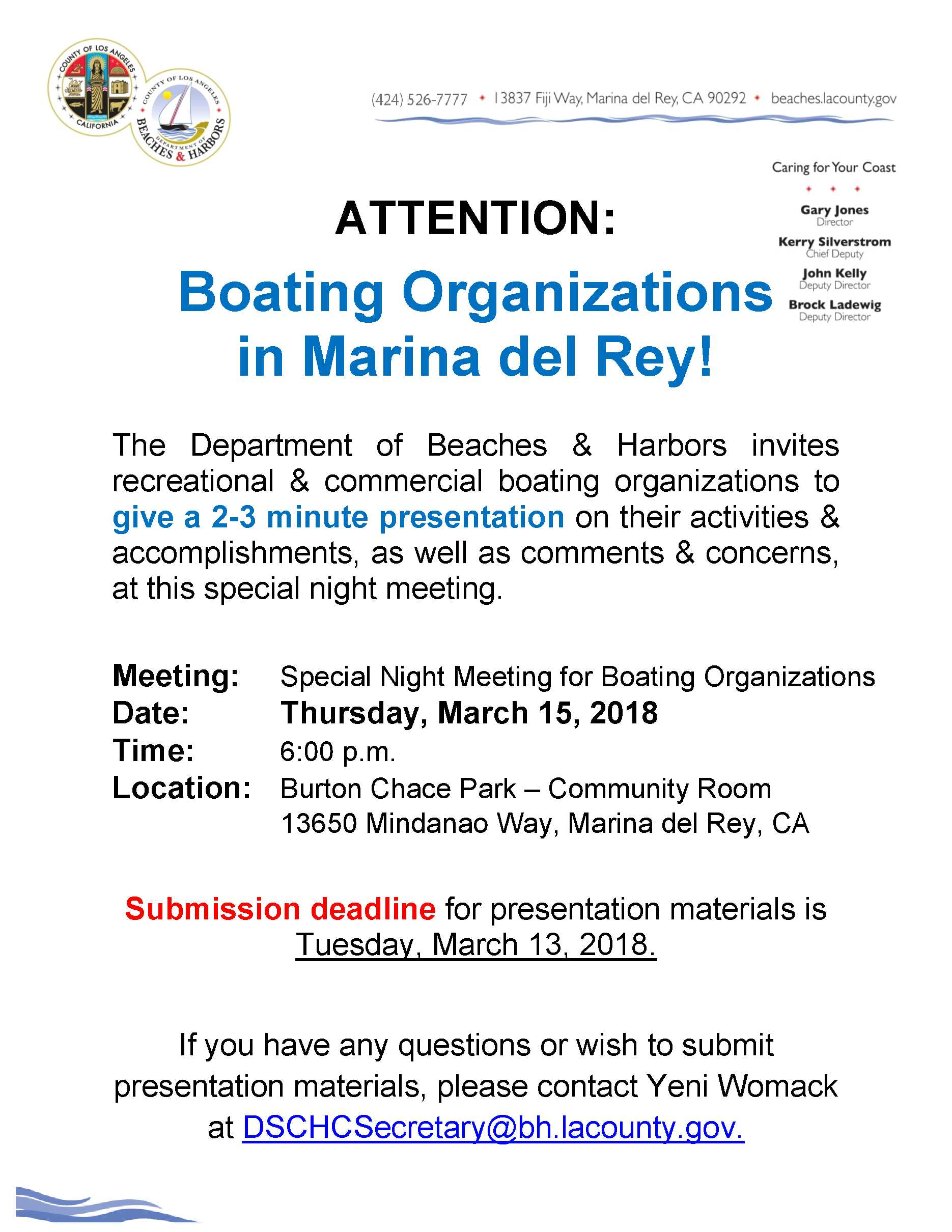 2018 Special Boaters Night Meeting Notice