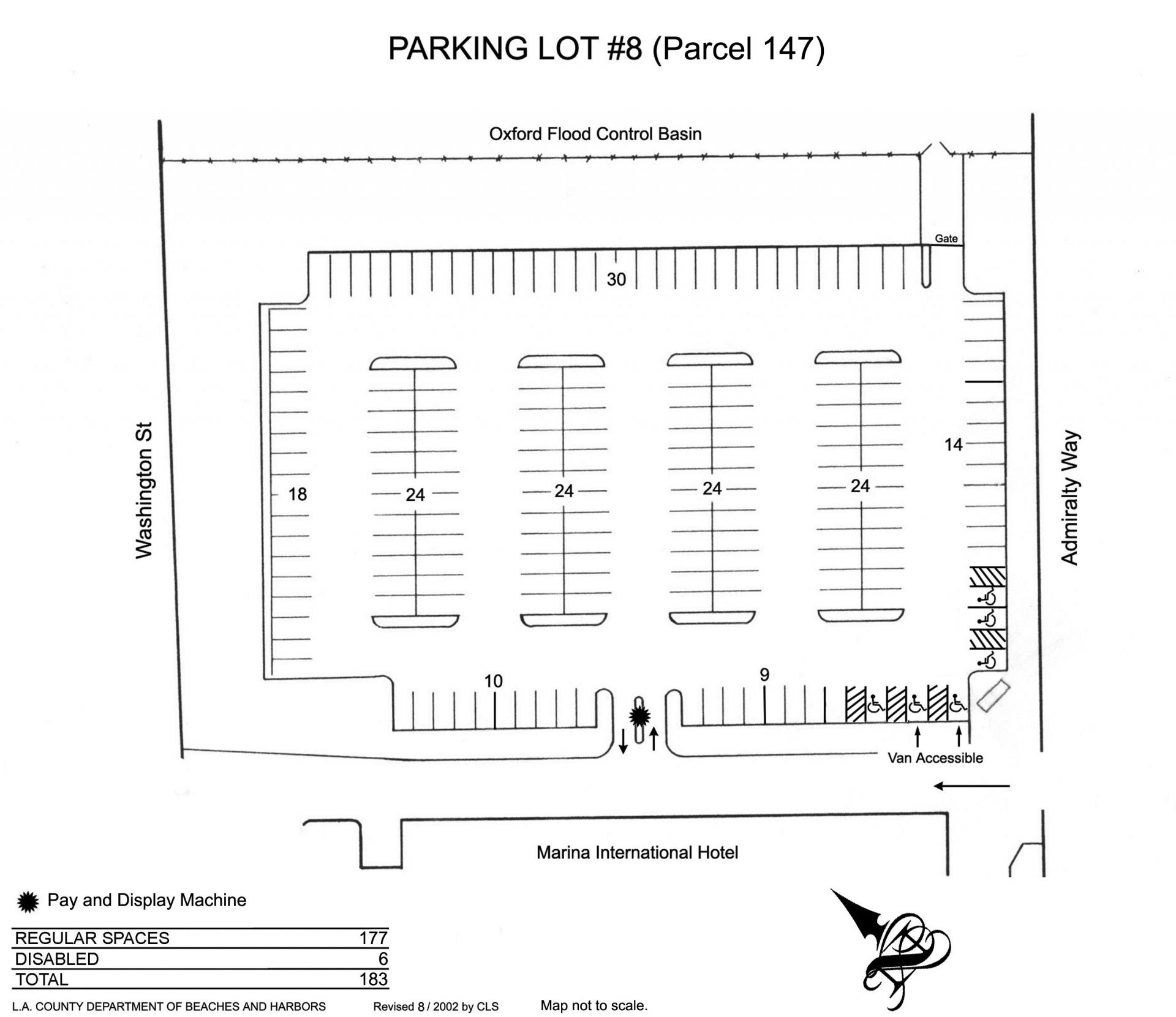 Diagram of Parking Lot 8 in Marina del Rey