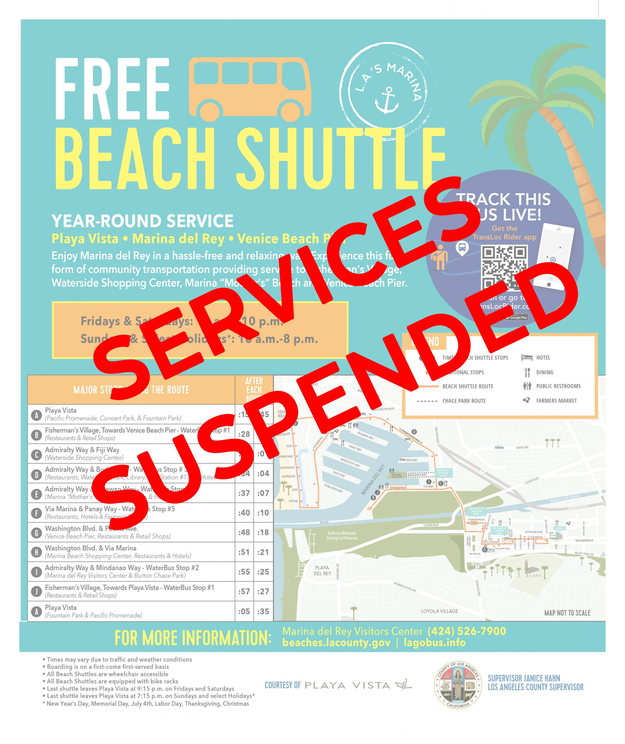 Beach Shuttle Services Suspended