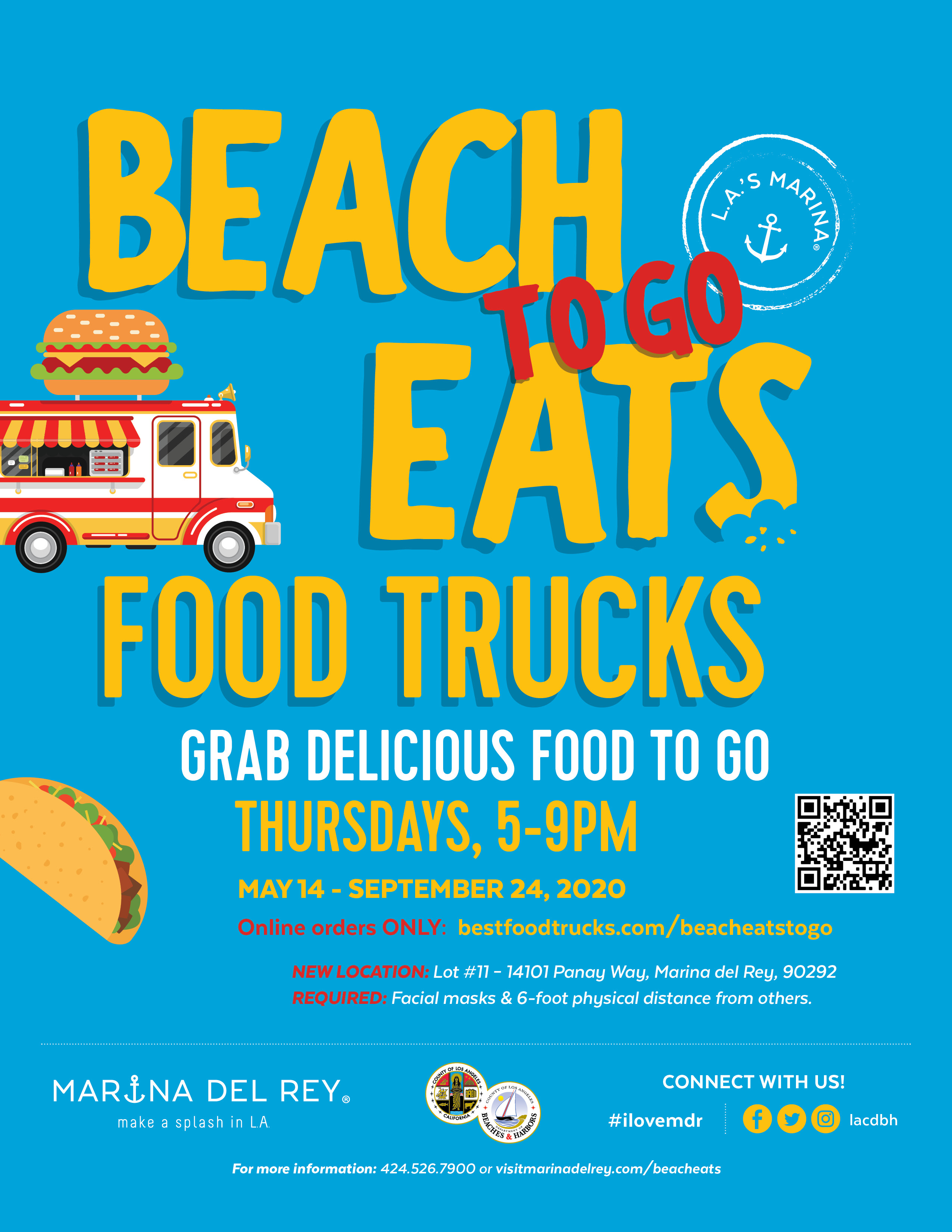 Beach Eats TO-GO means you can order from your favorite food truck, BY ORDERING ONLINE ONLY & picking up.