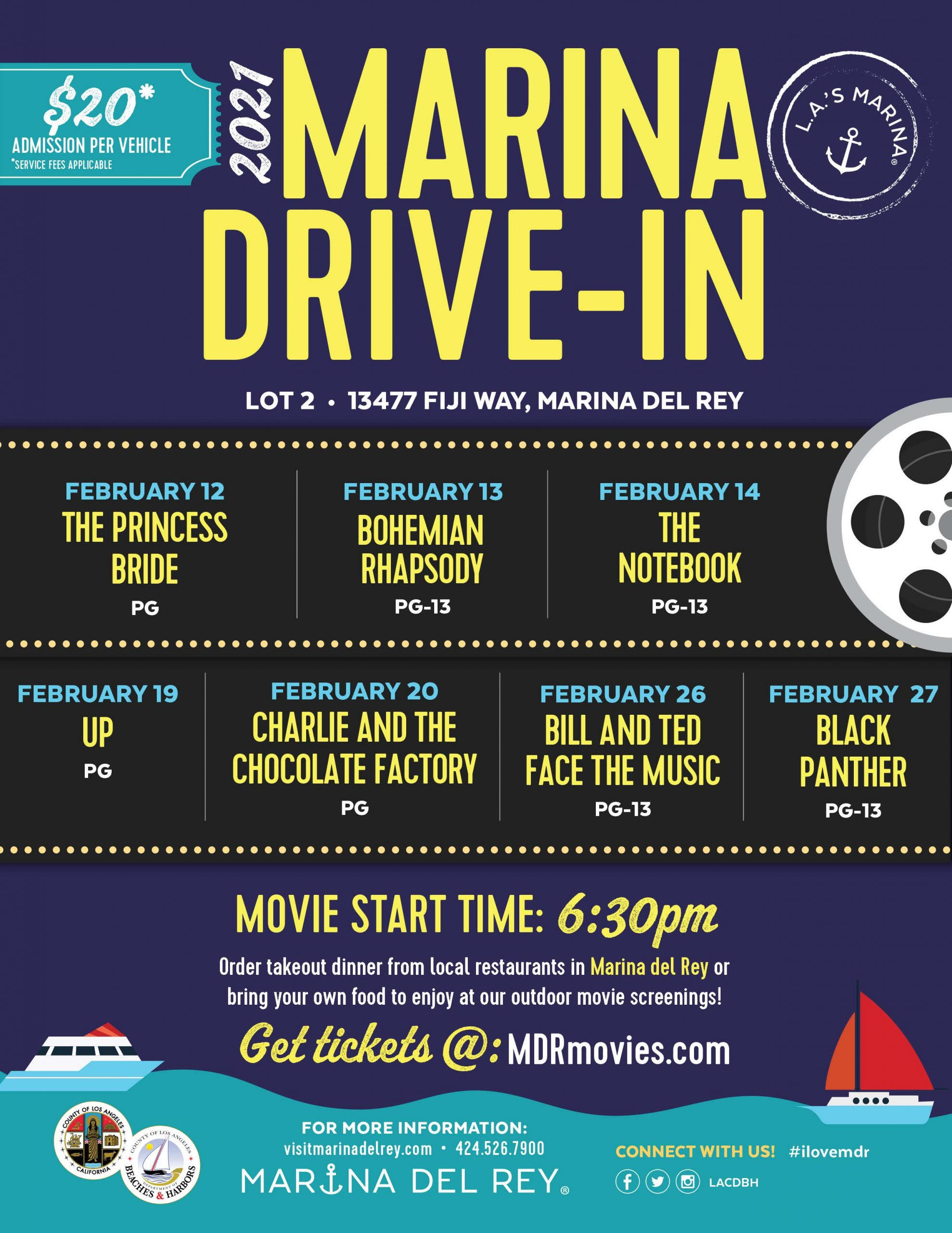 2021 Marina Drive-In Event Flyer